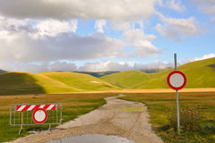 Country road with path sign of no entry Stock Photos