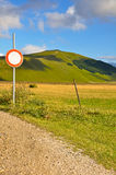 Country road with path sign of no entry Stock Image
