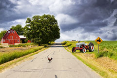 Country Road With Red Barn Stock Photos
