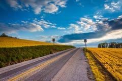 Country road in rural York County, Pennsylvania. Stock Photos