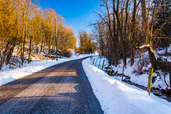 Country road, seen during the winter, in York County, Pennsylvan Royalty Free Stock Photos