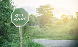 Country road signage get away Royalty Free Stock Photo