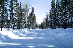 Country road in the snow Stock Photo