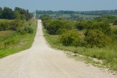 Gravel Road. Country road in Southwest Iowa Stock Images
