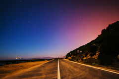 Country road on a starry night Royalty Free Stock Photo