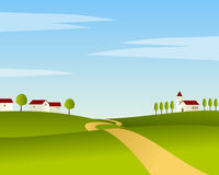 Country Road Summer Landscape. Country road summer or spring landscape background. Eps file available Royalty Free Stock Photo