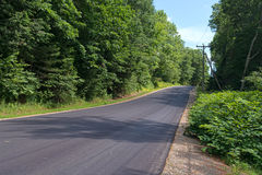 Country road in the summertime bordered by trees Stock Photo