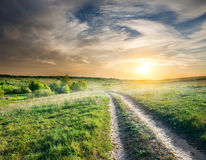 Country road at sunset Royalty Free Stock Photography