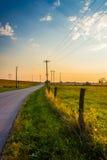 Country road at sunset near Hanover, Pennsylvania. Royalty Free Stock Photography
