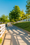 Country road surrounded the horse farms with evening fence shado Royalty Free Stock Photography