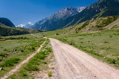 Country road in Tien Shan mountains Stock Photography