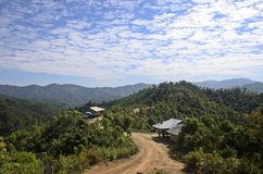 Country road to small village. In the north of Thailand Royalty Free Stock Images