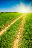 Country road to the sun Royalty Free Stock Images
