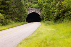 Country Road and Tunnel along Blue Ridge Parkway Stock Images