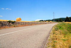 Country road turn right Royalty Free Stock Images