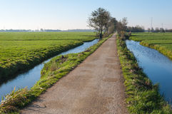 Country road between two ditches royalty free stock image