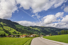 Country road in Westendorf, Brixental Valley in Tirolean Alps, Austria, Royalty Free Stock Image