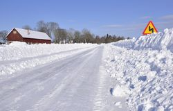 Country road in winter Stock Images