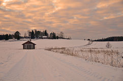 Country road in winter Royalty Free Stock Image