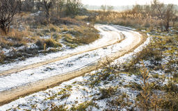 Country road. In winter in sunset light Royalty Free Stock Image