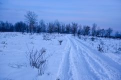 Country road in winter. Country road beside a village in Ukraine in winter time Stock Photo