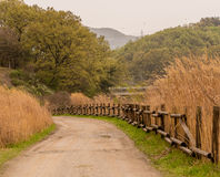 Country road with wood rail fence Stock Photography