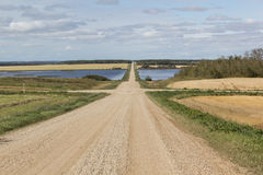 Country roads. Gravel roads between a lake Stock Photography