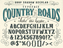 Country roads handcrafted retro typeface Stock Photos