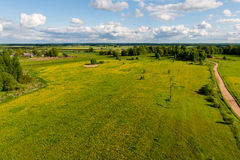 Country roads in perspective from above Royalty Free Stock Photography