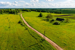 Country roads in perspective from above Stock Image