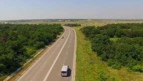 Country Route With Several Cars Moving Fast stock footage