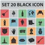 Country Russia, travel black icons in set collection for design. Attractions and features vector symbol stock web. Country Russia, travel black icons in set Stock Photos
