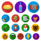 Country Russia, travel flat icons in set collection for design. Attractions and features vector symbol stock web. Country Russia, travel flat icons in set Stock Images