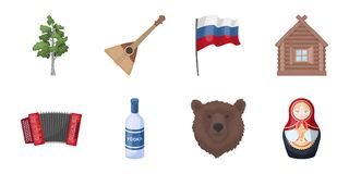 Country Russia, travel icons in set collection for design. Attractions and features vector symbol stock web illustration. Country Russia, travel icons in set Royalty Free Stock Images