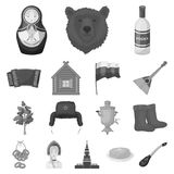 Country Russia, travel monochrome icons in set collection for design. Attractions and features vector symbol stock web. Country Russia, travel monochrome icons Stock Photos