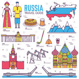 Country Russia travel vacation guide of goods, places and features. Set of architecture, people, culture, icons. Background concept. Infographics template Royalty Free Stock Image