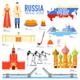 Country Russia travel vacation guide of goods, places and features. Set of architecture, people, culture, icons. Background concept Stock Images