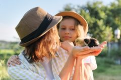 Country rustic style, happy mom and daughter together with newborn baby chickens royalty free stock photos