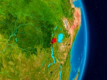 Rwanda from space. Country of Rwanda in red on planet Earth. 3D illustration. Elements of this image furnished by NASA Stock Images