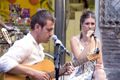 Country-Sänger am Buskersfestival Lizenzfreies Stockbild