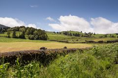 Country at Sao Miguel, Azores Islands. Country on the north of the island, with its fields, meadows and hills, together with trees and plants. White clouds on stock images