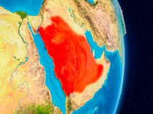 Saudi Arabia from space. Country of Saudi Arabia in red on planet Earth. 3D illustration. Elements of this image furnished by NASA Royalty Free Stock Image