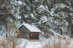 Country sauna in the snow.Winter. Royalty Free Stock Photos