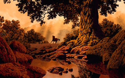 Country Scene. Image from an original painting by Larry Jacobsen. / MF-008 royalty free illustration