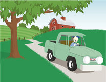 Country Scene. Illustration of a man driving an old truck in the country Royalty Free Stock Photo