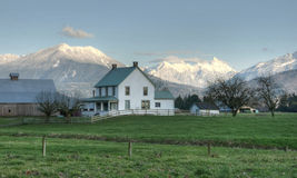 Country Scene Farm House in Winter Stock Photography