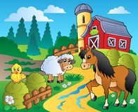 Country scene with red barn 2. Illustration Royalty Free Stock Photography