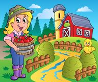 Country scene with red barn 7. Illustration Royalty Free Stock Image