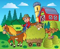 Country scene with red barn 9. Illustration Stock Image