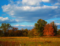 Country Scenery. Photo of rural country side near sunset in Ohio during peak fall foliage stock images